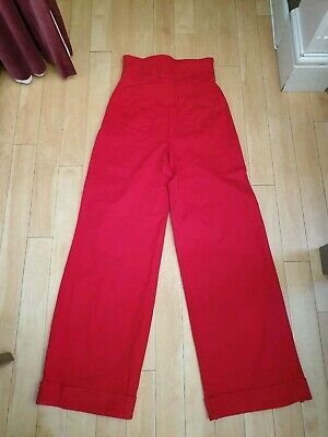 Collectif Bright Red High Waist Wide Leg 1940s Trousers, UK Size 12