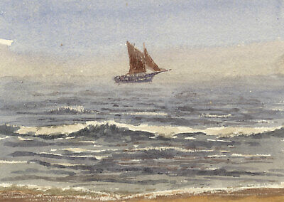 F.R. Forrester, Thames Barge off the Coast – Original 1930s watercolour painting