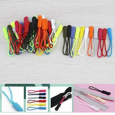 Zipper Pulls Slider Nylon Cord Replacement for Bag Key Rings Purses 12-color