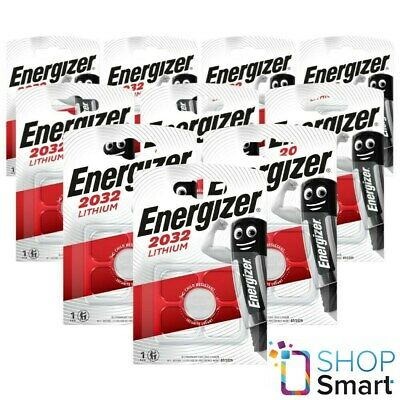 10 Energizer Cr2032 Lithium Batteries 3V Coin Cell Dl2032 Exp 2025 New