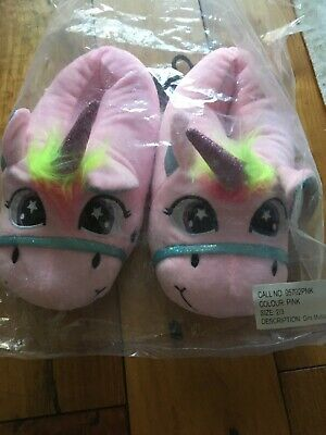 Unicorn Slippers Size 2-3 by Asda BNWT White & pink Plush novelty hard sole