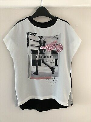Gorgeous RIVER ISLAND Girls Mixed Fabric T-shirt, 5-6 Yrs, Great Condition