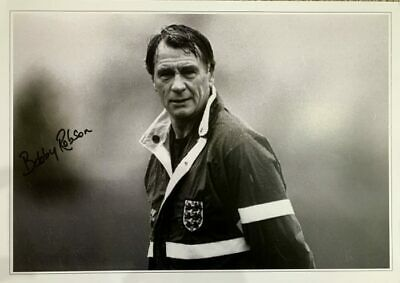 Signed Sir Bobby Robson England Autograph photo Newcastle Fulham Barcelona