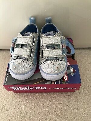 Girls Light Up Skechers Twinkle Toes Blue Trainers Infant UK 6