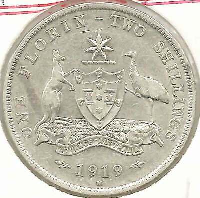 1919M KGV AUSTRALIA 2/- TWO SHILLINGS FLORIN Sterling Silver - RARE HIGH GRADE -
