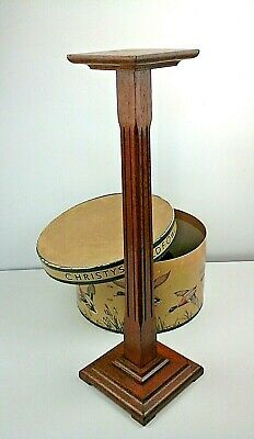 "Genuine Art Deco Oak Hat Display Stand 24"", Period Shop Fitting C.1930's"