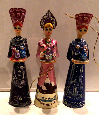 """3 Hand Carved Wood Painted Russian Souvenir Christmas Ornament """"Russian Beauty"""""""