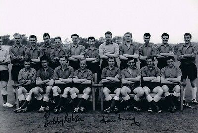 Signed Bobby Robson Tom Finney England 1958 World Cup Autograph Photo
