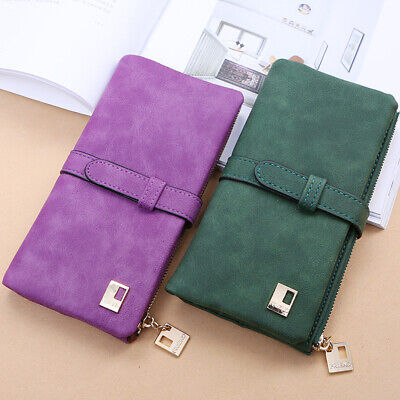 Women Fashion Frosted Bifold Long Wallet Coin Purse Clutches Bag Card Bag Gift