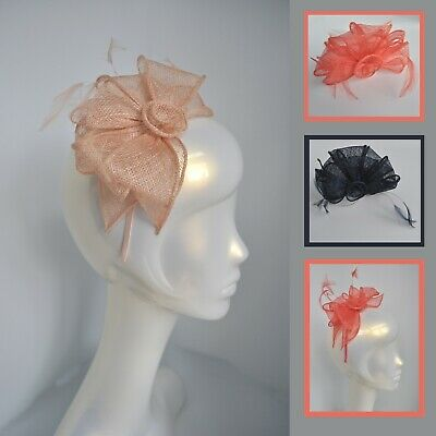 Salmon nude pink sinamay rose/loops feather fascinator headband. Wedding/races