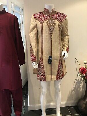 Indian/Asian Cream Men Wedding Suit /Men Sherwani /Groom Suit Size 38 S