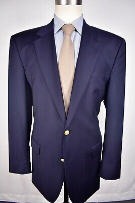 Jos. A. Bank Solid Navy Blue 100% Worsted Wool Two Button Blazer Size: 44L