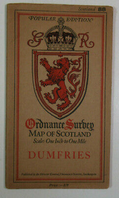 1925 Old OS Ordnance Survey One-Inch Popular Edition Scotland Map 88 Dumfries