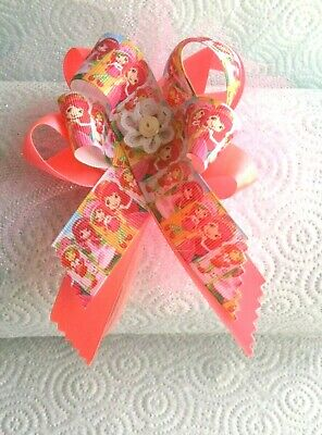 "Strawberry Shortcake"" On Hot Pink Bow Headband -AGES 2+ 'Handmade 6 X 5 Bow"
