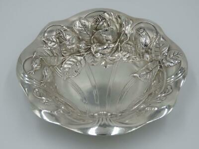 Antique c1900 Wallace Sterling Silver Art Nouveau Rose Nut Candy Dish Bowl 6""