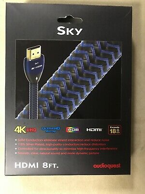 AudioQuest Sky 8 Ft. 4K Ultra HD HDMI Cable - Black/Blue GENUINE NEW
