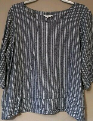 Ladies Linen Tunic Tops x 2 Bundle 1 x Navy stripe, 1 Multicoloured 20/22