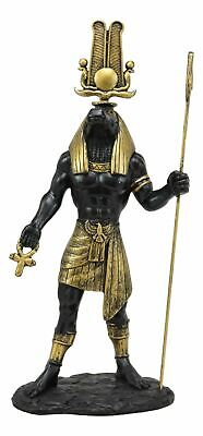 Ebros Black and Gold Egyptian Benevolent God Sobek with Crocodile Head Statue