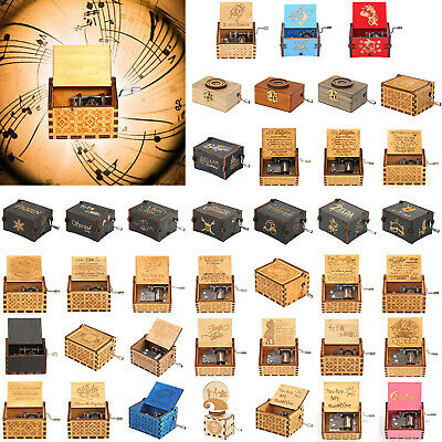 Antique Wooden Music Box Hand Crank Engraved Toys Kids Birthday Gift Xmas Crafts
