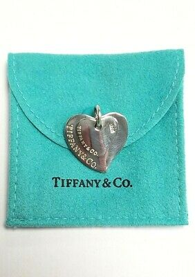 Sterling Silver Tiffany & Co. Double Heart Pendant With Pouch
