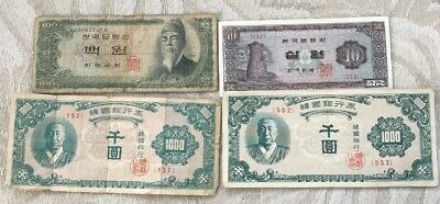 THE BANK OF KOREA BANKNOTES 1000 Won, 100 Won And 10 Won