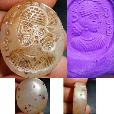 Old Lovely Sassanian king Face seal Writing intaglio stone stamp     # 49