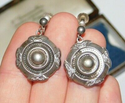 Antique Victorian Sterling Silver Engraved Aesthetic Movement Screw Earrings