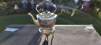 An Antique Silver Plated Spirit Kettle.stand and  Burner by mappin And Webb.