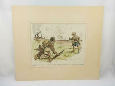 WW1 Punch Magazine Hand Coloured Military Cartoon Mounted Print / Picture 1917 b