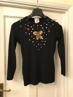 Mondi Black Sequin & Bead Now & Sparkly Long Sleeve T-Shirt Style Top,38/UK12