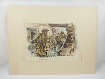 WW1 Punch Magazine Hand Coloured Military Cartoon Mounted Print / Picture 1917 e