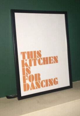 Kitchen Print Framed Wall Art for Home Quote Print Orange and White Scandi Dance