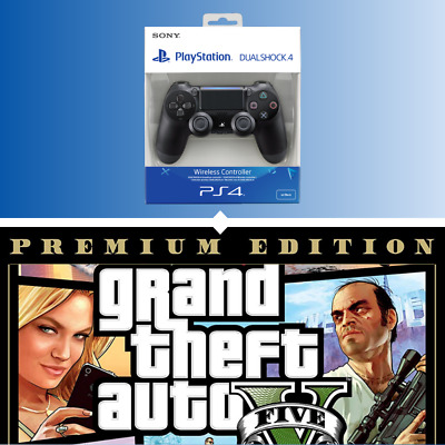 Official Sony Ps4 Dualshock 4 V2 Controller & Save On Gta V Premium Edition