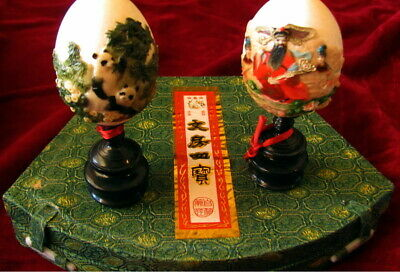 Asian Calligraphy Boxed Set And Two Decorated Eggs On Stand