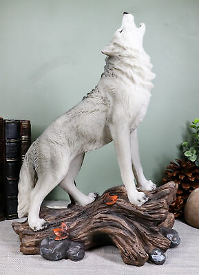 """Ebros Gift Large Cries of The Night Howling Alpha Gray Wolf Statue 12"""" Tall"""