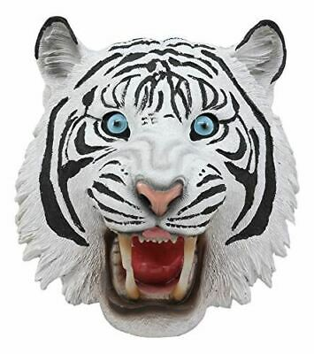 "Ebros Roaring Savage Blue Eyed White Siberian Tiger Head Wall Decor 8.5"" Tall"
