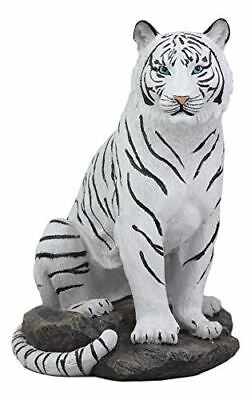 "Ebros 9"" Tall Sitting Albino The Bengal White Tiger Statue"