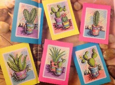 (K) Mexican Colour Cactus Cacti Cards Cross Stitch Chart