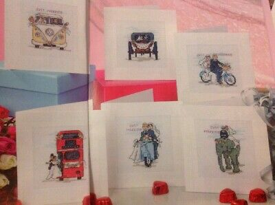 (K) Wedding Cards Carriage Bicycle Elephant Camper Van Bus Cross Stitch Chart