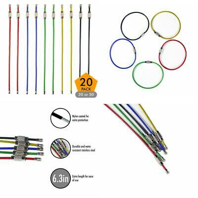30pack Colored Key Tags /& Chains Nylon Coated Stainless Steel Wire Keychains 2mm