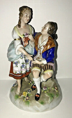 Antique Sitzendorf Germany Dresden Porcelain 18thC. Courting Scene Figurine