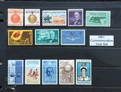 1961 US Commemorative Year Set (Complete) #1174-1178, 1183-90 MNH  FREE SHIPPING