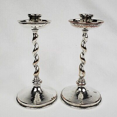 """Arts And Crafts Connell 83 Cheapside Twist Hammered Candlesticks """"Wow"""""""