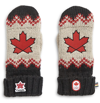 2019 Canada Olympic Team Embroidered Fair Isle Knit Red Mittens Maple Leaf