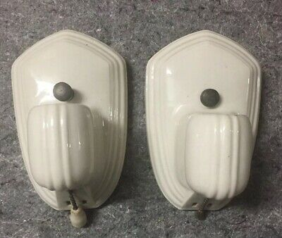 Vtg 1920/30s Pair Of Paulding Ceramic White Sconces W/Electrical Outlet