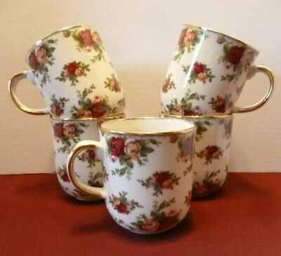 Royal Albert Old Country Roses Classic 1998 Lot of 5 coffee cups/mugs