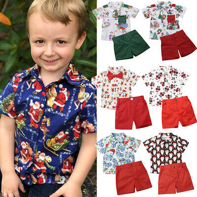 Christmas Kids Baby Boys XMAS Clothing Santa Tops Shirt Shorts 2PCS Outfits Set