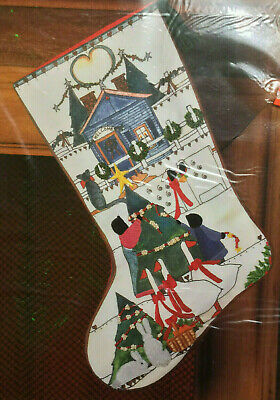 Sunset Stitchery Stocking Home For Christmas Country Tree Family Embroidery RARE