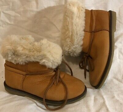 Girls Zara Baby Beige Leather Lovely Boots Size 23 (685Q)