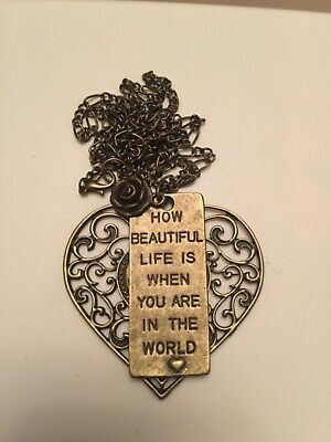 antique bronze handmade Big heart lettering necklace pendant life is beautiful